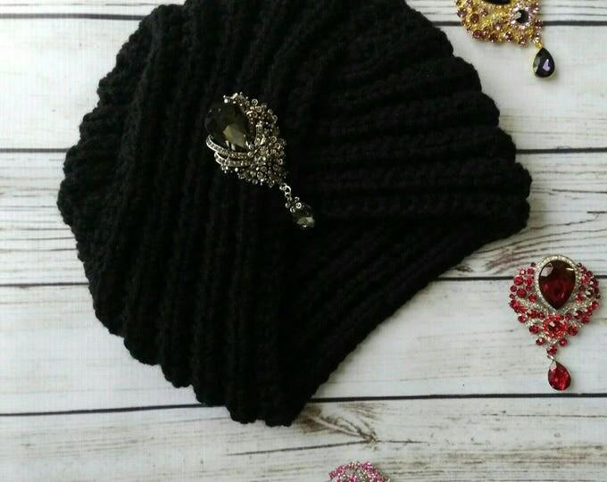 Turban. Knitted turban. Crochet turban. Wool turban. Winter hat. Headwrap hat. Headband. Womens hat. Black turban