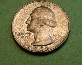 Washington Quarter 1955-D Gem BU Gray Toning<> # ET3717