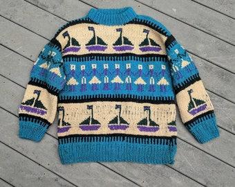 Handmade Oversized Knit Sweater w Sailboats || Chunky Old Man Crewneck Made in Ecuador,  XL