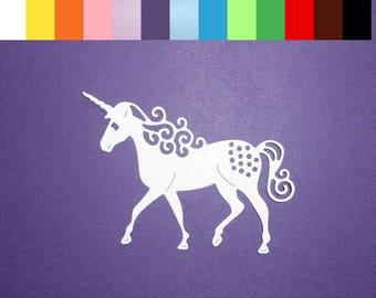 "12 Unicorn Die Cuts 3"" x 2 1/8"" Choose Color Cardstock Paper Filigree Unicorn Scrapbooking Embellishments Card Making"