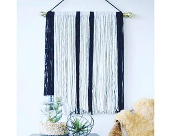 Large Geometric Macrame Wall Hanging in Black and White