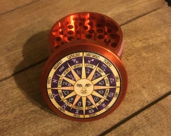 Astrology horoscope sun 55mm 4 part custom herb grinder. Cosmic Celestial Calendar. Astrological signs.