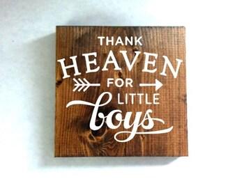 Thank heaven for little boys sign, nursery sign, kids room sign, baby shower gift
