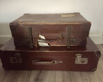 Stack / Pair of Vintage Suitcases - great alternative storage or prop