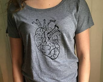 ON SALE Distressed Heart Ladies Short Sleeve T-Shirt Hand Silkscreened Radical Apparel
