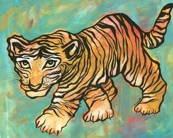 Tiger art, fine art print, tiger print, jungle nursery, child art, baby gift, baby art, nursery art, tiger love, baby tiger, tiger nursery