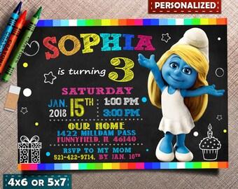 Smurfs Invitation, Smurfs Birthday Invitation, Smurfs Theme, Smurfette Invitation, Smurfs Birthday, Smurfs Party, Any age Invitation, Smurfs