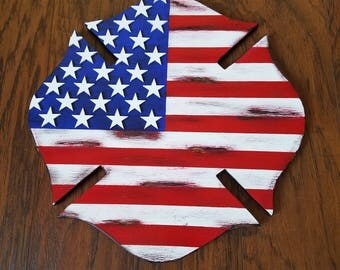"Can package and ship today!!!!!14.5""Handcrafted rustic wood American flag Maltese cross, firefighter, firefighter gift, firefighter decor"