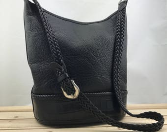 BRIGHTON Black Leather Bucket Bag // Crossbody Bag Braided Leather Strap