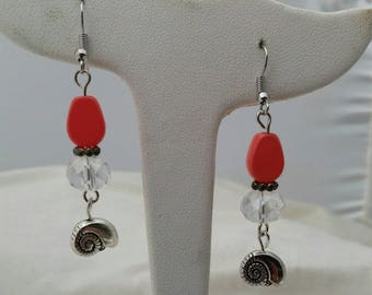 Coral and clear beaded seashell earrings