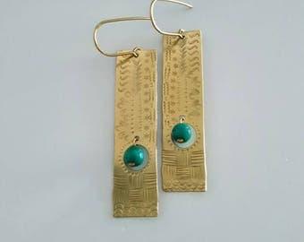 Golden Brass Long Strip Earrings with Green Fire Agate