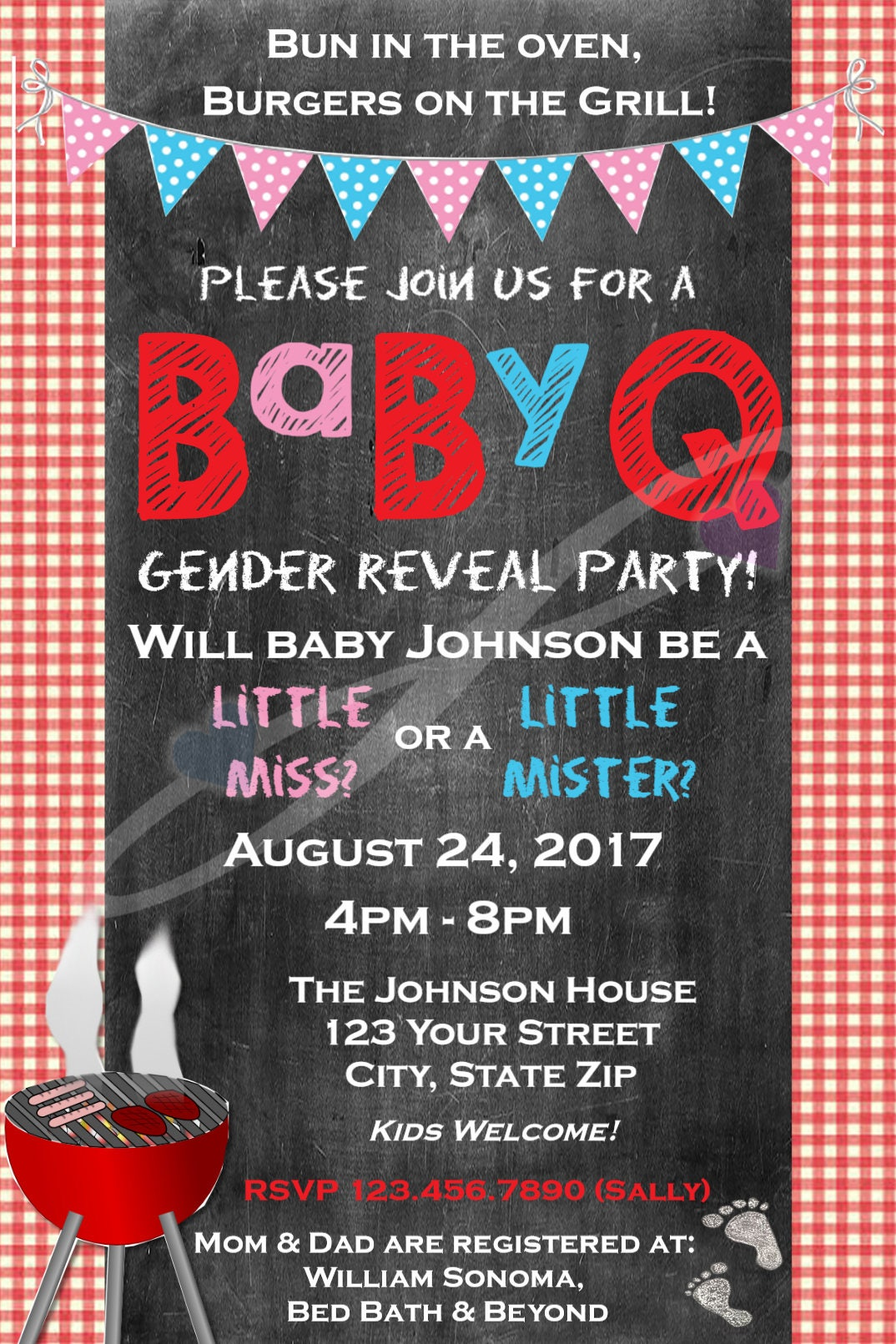 BabyQ Gender Reveal Invitation - Baby Shower Party- bbq- pink blue ...