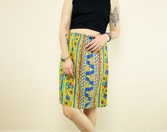 Vintage Yellow & Blue Striped Paisley High Waisted Festival Mini Skirt
