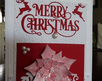 Merry Christmas Poinsettia Embossed card