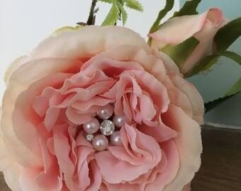 Luxury artificial rose, coral gem rose, artificial wedding flower, wedding bouquet flowers, coral pink wedding rose, diamante rose.