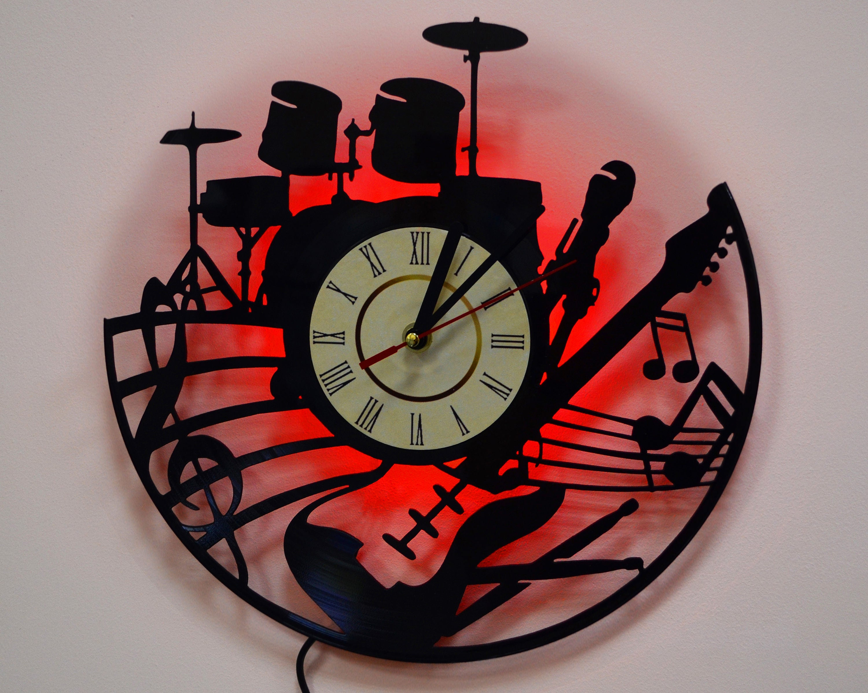 Guitar and drum led lighting wall clock vinyl record details night light function vintage wall clock amipublicfo Gallery