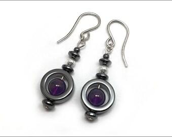Amethyst and Hematite 'Circle' Beads Earrings