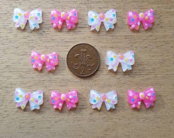 Set of 10 resin flat back bows
