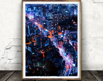 Night Time, City, Twinkle, Glow, Hustle Bustle Wall art