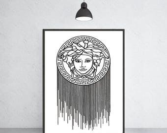 Versace logo art print Versace poster Versace warecolor Versace home decor Versace wall decor Versace painting