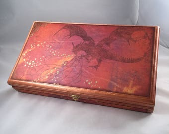 Altered Cigar Box, Keepsake Box, Jewelry Box, Treasure Box, Valet, Men, Man, Dragon, Trinket Box, Gift