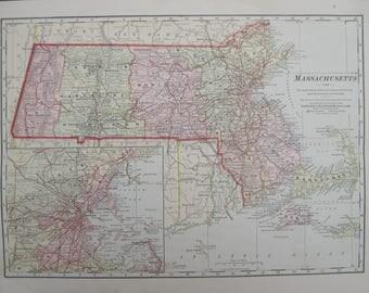 1914-Massachusetts Map-  Lovely 103 year old, vintage map of Massachusetts- Home Decor