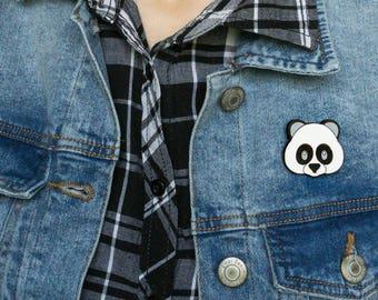 Panda Emoji Wooden Brooch by WoodBrooch