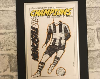 League Champions of England 2016/17 A4 Prints: Chelsea, Newcastle Utd, Sheffield Utd