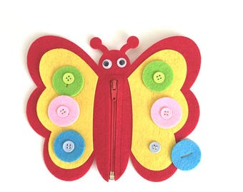 Butterfly Buttoning and Color Match Busy Bag Toy, Montessori Toddler, Montessori Toys, Practical Life, Quiet Time, Toddler Gift, Felt Toys