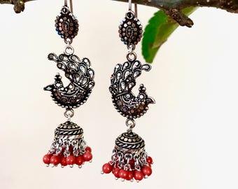 Antique sterling silver earrings, gemstone earrings, silver earrings, Indian earrings, sterling silver jewellery, vintage jewellery,Indian