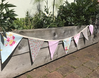 pink and blue floral bunting, polka dot bunting, double sided bunting, fabric bunting, free shipping