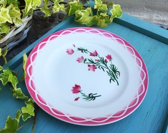 One SARREGUEMINES DIGOIN AUDE design Deep Pink Floral - Set of 10 Rare Salad or Dinner Plates Antique French Art-Deco