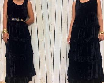 SALE Vintage 90s Carole Little Sleeveless Black Velvet Tiered Ruffle Maxi Holiday Dress, Size Medium 10
