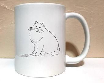 Cat & Dead Mouse 11 ounce Mug, Coffee Mug, Funny Mug, Dead Mouse