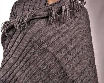 Plaid wool grey plaid, plaid knitted, hand made plaid wool blanket, plaid