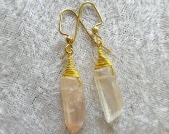 Creamy Crystal Rainbow Earrings, Iridescent Crystal Earrings, AB Crystal Earrings, Gold Crystal Earrings