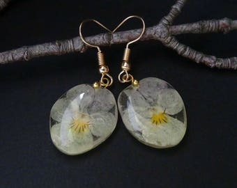 Pansies earrings,gentle glow,candy earrings,real flowers earrings,resin earrings,flowers earrings,provence style,French style jewelry