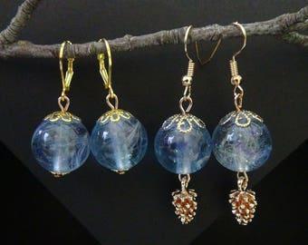 Gentle blue earrings,Delicate dandelions,Dandelion seeds,dandelion in resin,blue flower earrings,resin jewelry,flower in a resin,orb jewelry