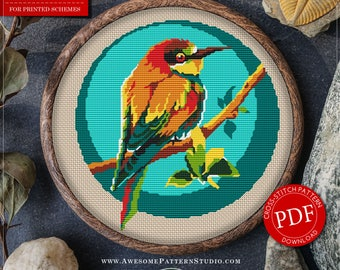 Pretty Little Modern Cross Stitch Pattern of Tomtit for Instant Download *P011 | Cross Stitch PDF| Hand Embroidery| Easy Cross Stitch