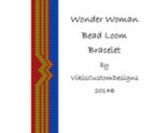 Wonder Woman Bead Loom Bracelet Pattern by VikisCustomDesigns