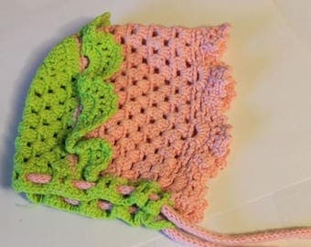 Pink Crochet Baby Bonnet, Crochet Baby Hat, Pink Newborn Bonnet, Baby Girl Clothes, Profits Donated to Charity