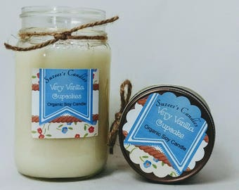 Very Vanilla Cupcakes,organic soy candle, 16oz soy candle,soy candles,rustic soy candle,best soy candle,vegan candle,scented candle,mason