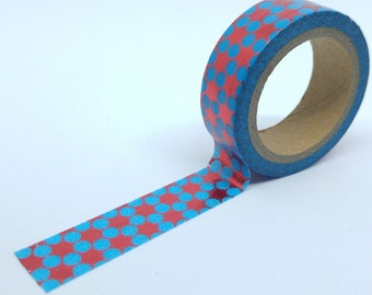 Washi Tape bright flower petals 6Mx15mm blue and red circles