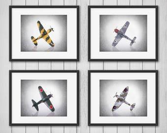 Discount Set of 4 Airplanes WWII wall prints, boys room decor, kids room decor, airplane decor, airplane nursery, airplane prints