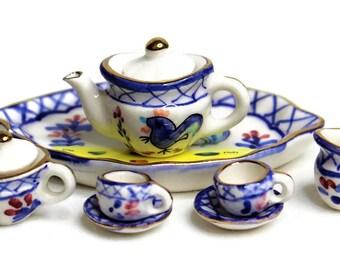 Dollhouse Miniature Porcelain Tea Set, Miniature Fairy Garden Accessories, Rooster Design with Gold Trim, DIY Jewelry Making Accessories.