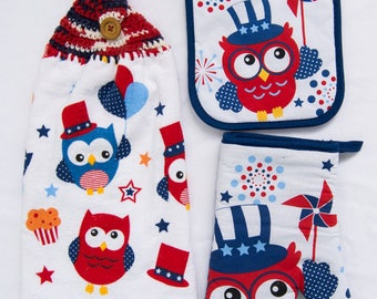 4th of July Owl Kitchen Towel - Crochet Top