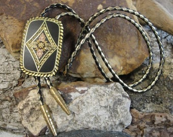 10K Black Hills Gold & Rose Gold Western Bolo Tie with Leather Ropes
