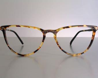 Unworn SIXTY by TRENTI 1980's Decorated Cat Eyes Feminine Eyeglass Frames Tortoise Burlesque Pin Up Vintage NOS Old Stock New 54 17 135