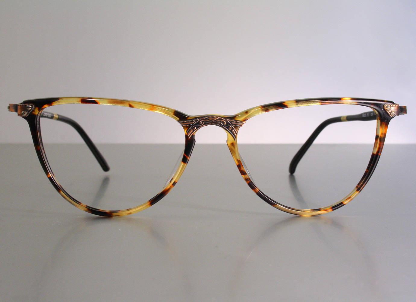 5ae015c1b32a4 Unworn SIXTY by TRENTI 1980 s Decorated Cat Eyes Feminine Eyeglass Frames  Tortoise Burlesque Pin Up Vintage