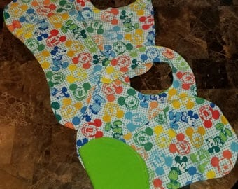 Mickey mouse bib/burp cloth sets